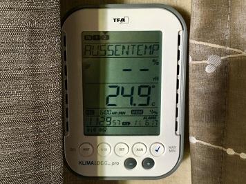24,9°C Außentemperatur im Schatten