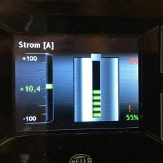 Batterieladestatus 10,4 A, SOC 55%