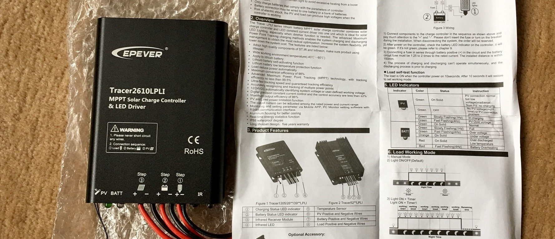 Eingetroffen Epever Lion Battery Solar Charge Controller 10a 12 Short Circuit Tracer 24v Mppt Waterproof Ip68